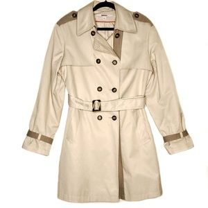DKNY Belted Trench Coat with Buckle Beige Size XL